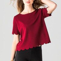 Maycroft Scalloped Top In Burgundy