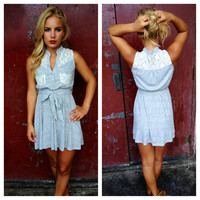 Grey Dress with Cream Lace Detail