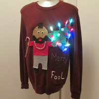 Hilarious Ugly Christmas Sweater Lights Up Funny Mr T saying Merry Christmas Fool Size Large to Xlarge 40 inch chest Ships in 24 hours OOAK