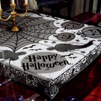 Halloween Party Decor Cobweb Tablecloth Horrible Spider Web Design Table Cover Outdoor Party Decor spoof Tablecloth
