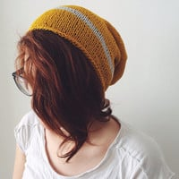 Mustard Knit Beanie, Back to school Hat, Hipster Knit Beanie, gift for her, gift for him