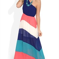 One Shoulder Maxi Dress with Color Block Stripe Skirt