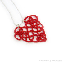 Lace heart pendant Red tatted lace pendant Valentine heart gift