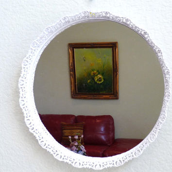 Vintage Ornate White Mirror Brass Filigree Frame Wall Mirror Vanity Footed Tray Dresser