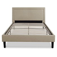 Queen size Taupe Upholstered Platform Bed with Headboard