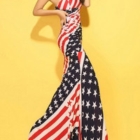 Flag Print Color Block Skinny Sleeveless Sexy Style Low Cut Maxi-Dress For Women