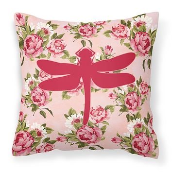 Dragonfly Shabby Chic Pink Roses  Fabric Decorative Pillow BB1062-RS-PK-PW1414