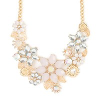 Opaque and Clear Crystal Flowers Statement Necklace | Icing