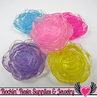 Clear Sparkly Rose with Colorful Base Decoden Flatback Kawaii Cabochons (5 pc) 34mm