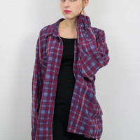Vintage Burgundy and Navy Plaid Flannel Shirt