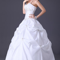 White Halter Beaded Ruched Ribbon Backless Ball Gown `