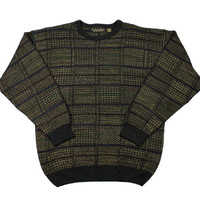 Vintage 90s Striped Acrylic Sweater in Black / Gold Mens Size Medium