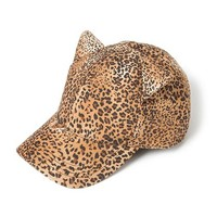 Leopard Baseball Cap with Ears  | Claire's