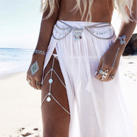 Beach Multilayer Leg Chain Boho Hippie Body Jewelry