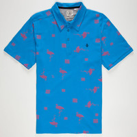 Volcom Flamingoed Mens Polo Shirt Blue  In Sizes