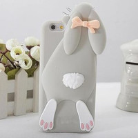 New Style Fashional 3D Lovely Cartoon Bunny Rabbit Rubber Soft Silicon Gel 4.7 Inch Case Cover for IPhone 6 6S = 1714483076