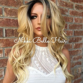 """Crissy Platnium Blonde Rooted Human Hair Blend Multi Parting Front Lace Wig 18"""""""
