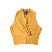 90s Cropped Top Yellow Ochre Sleeveless Tank Top Vintage Plunging Gathered Vneck Top TARAZZIA 1990s Basic Crop Top Womens Small Medium
