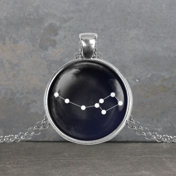 Ursa Minor constellation pendant, your choice of silver or bronze and necklace or key ring