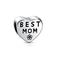 Mothers Day Gifts 925 Sterling Silver Best Mom Heart Bead Pandora Compatible Charm