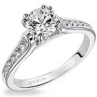 """Artcarved """"Kimberly"""" Double Prong Head Channel Set Diamond Engagement Ring"""