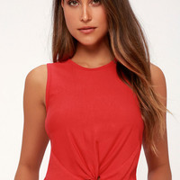 Barclay Red Knotted Crop Top