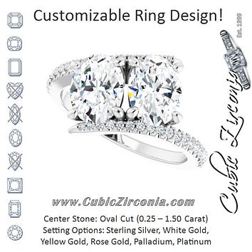 Cubic Zirconia Engagement Ring- The Nellie (Customizable Double Oval Cut 2-stone Design with Ultra-thin Bypass Band and Pavé Enhancement)