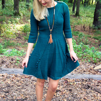 Cozy Up Sweater Dress - Peacock