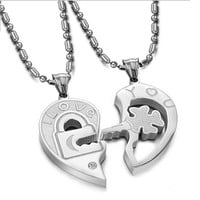 New Fashion 2PCS His and Hers Heart Lock And Key Stainless Steel Pendant Love Chain Necklace Set Couples Jewelry Valentines Gifts = 1930110212