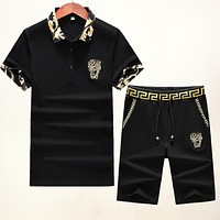 VERSACE Summer Men Women Stylish Bee Embroidery Shirt Top Tee Shorts Set Two-Piece Black