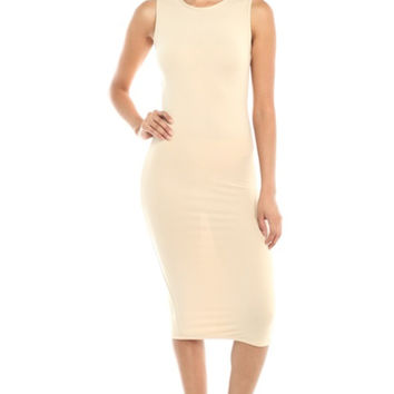 Sleeveless Knit Bodycon Midi Cocktail Dress