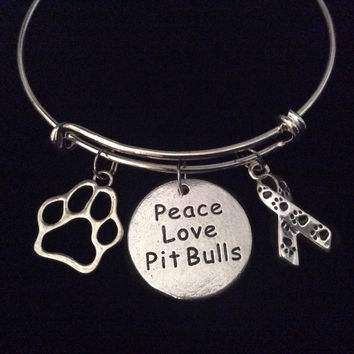 Rescue Peace Love Pit Bull Silver Expandable Charm Bracelet Silver Adjustable Bangle Awareness Gift Animal