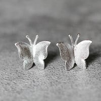 Silver Butterfly Earrings, Sterling Silver Butterfly Stud Earrings, insect earrings, animal studs earrings, Butterfly Jewelry, gifts for her
