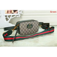 Gucci New Popular Women Shopping Bag Leather Purse Waist Bag Single-Shoulder Bag Crossbody Satchel Green I-OM-NBPF