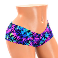 Purple & Turquoise Neon Tie Dye Lowrise Sexy Ultra Cheeky Booty Shorts  Rave Booty Shorts -150250