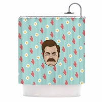 "Juan Paolo ""Give Me All Of The Bacon And Eggs"" Parks & Recreation Shower Curtain"