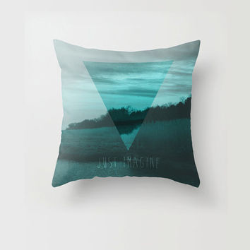 Throw Pillow Decorative Pillow Case Teal Blue Triangle Geometric Modern Imagine Quote Nature Made to Order Photo Pillow 16x16 18x18 20x20
