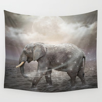 May the Stars Carry Your Sadness Away (Elephant Dreams) Wall Tapestry by Soaring Anchor Designs