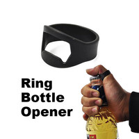 Ring Bottle Opener Easy Carry Finger Ring Beer Bar Bottle Opener Black Best For Beer Stainless Steel Openers