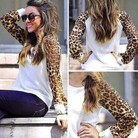 Womens ladies fashion long leopard sleeve tops blouses T-shirt Shirt Tee (White,Black,GreySize M-3XL) = 1919929860