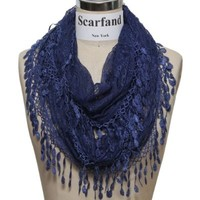 Scarfand's Delicate Lace Infinity Scarf with Teardrop Fringes (Navy)