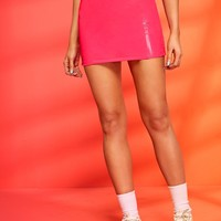 Neon Pink Or Red Leather Zip Back Skinny Mini Skirt