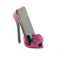 Sparkly Pink Rose High Fashion Pointed Open Toe Sky High Heel Shoe Phone Holder