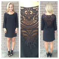 Black Libby Crochet Shift Dress