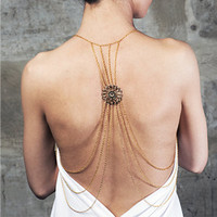 Multi-Layered Body Chain with Back Pendant