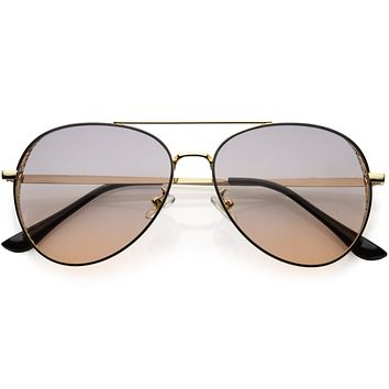 Luxe Laser Cut Metal Detail Side Cover Aviator Sunglasses D027