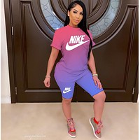 NIKE Women With short sleeves Top Pants shorts Two-Piece