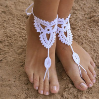 Barefoot Sandals Beach Wedding Bridal Foot Jewelry Knit Ankle Bracelet Hot Jewelry = 1958385476