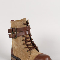 Bamboo Leatherette Two Tone Double Buckle Lace Up Combat Boot