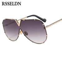 RSSELDN New One Piece Sunglasses Men Brand Designer High Quality Oversized Sunglasses For Women Sunglass Metal UV400 Mirror